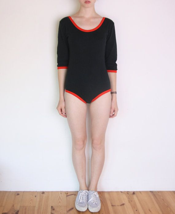 80's black and orange red ringer bodysuit long by WoodhouseStudios