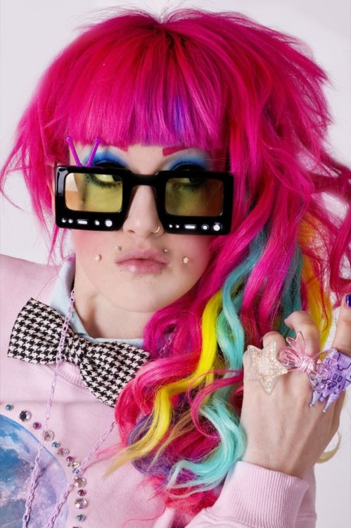 rainbow pink hair and tv glasses