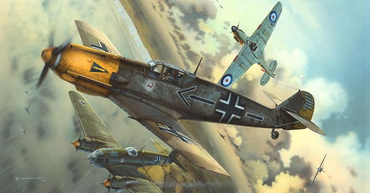 Bf109-E of Major Helmut Wick, Geschwaderkommodore of JG2. 28th November Wick was shot down by F/Lt J. Dundas who in turn was shot down and killed by Wick's wingman, 'Rudi' Pflanz. Wick jettisoned his canopy and jumped over the side. The solitary parachute drifting down towards the sea south-west of The Needles would be the last anybody ever saw of the Luftwaffe's leading ace, for an intensive air and sea search failed to find Wick.