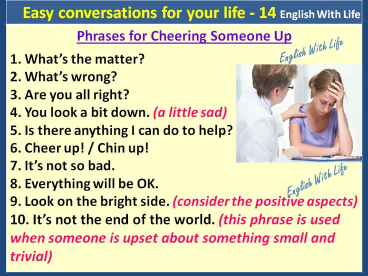 Easy conversations for your life 14 - Phrases for Cheering Someone Up.