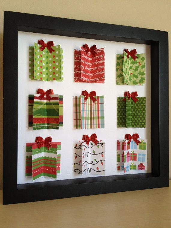 Christmas Present, 3D Paper Art, can be personalized with your colors and information.. $35.00, via Etsy.