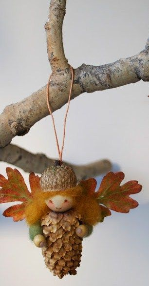 How to: Pine Cone Fairies for Decor for kids +++ Hadas de piñas manualidad para niños decoracion otoño