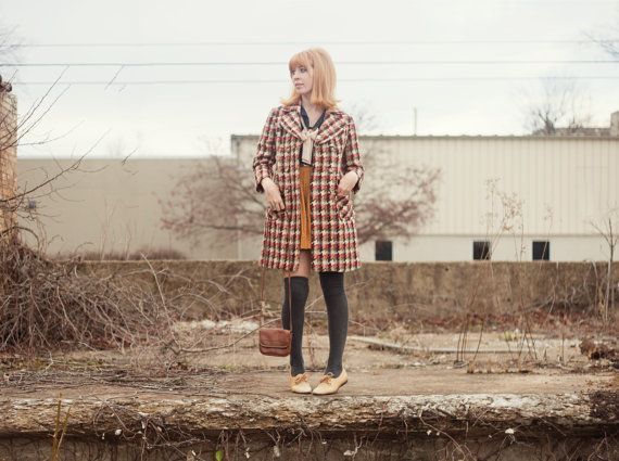 60s Houndstooth Coat by strawberrykoi on Etsy, $145.00