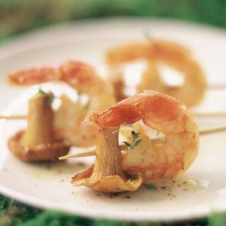 Brochettes de girolles aux crevettes