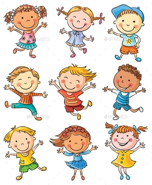 Nine Happy Kids Dancing or Jumping Design Vector Template - People Characters Vector EPS, JPG Image. Download here: https://graphicriver.net/item/nine-happy-kids-dancing-or-jumping/10018796?ref=yinkira