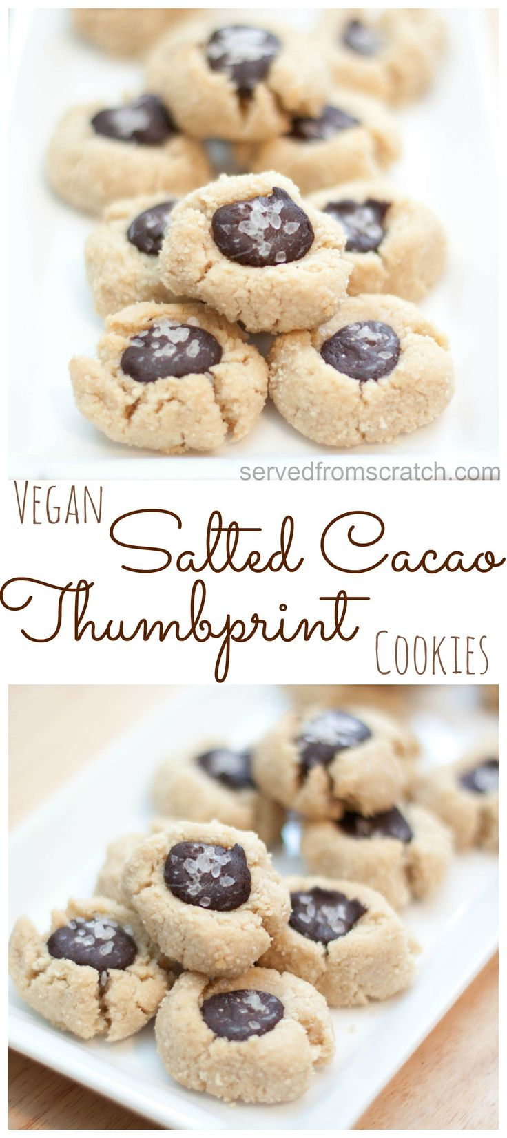 vegan salted cacao thumbprint cookies makes cookies vegan vegan treats ...