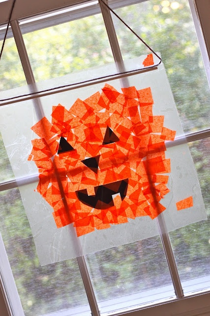 Give each child a piece of wax paper and a cut outs of eyes, nose, and mouth along with orange color tissue paper to make their own sunlight/window jack-o-lantern to take home after making it in class.