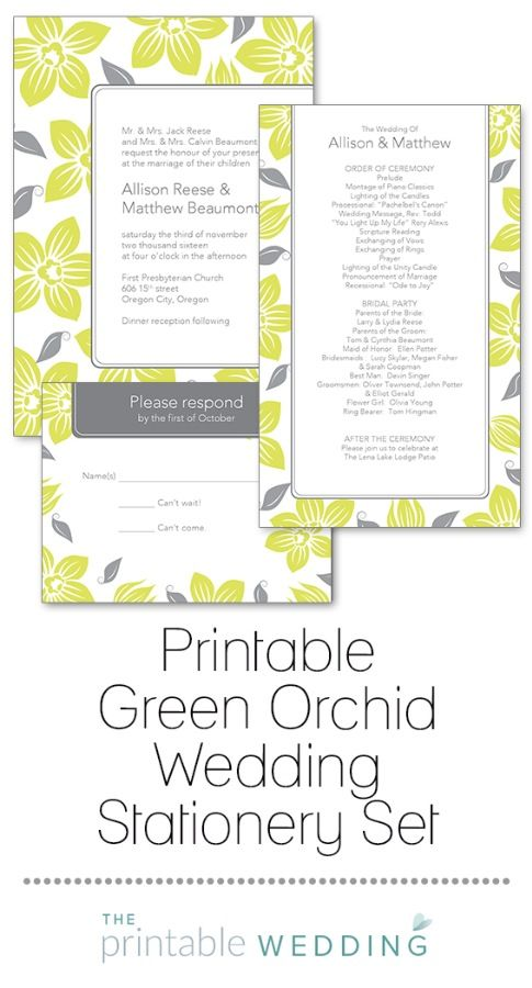 As alluring as a tropical island, these tantalizing orchids are a sweet depiction of the love and beauty of your wedding. Gently cascading blossoms and leaves delicately adorn this wedding set. Ideal for an island or tropical wedding! | Printable Green Orchid Wedding Stationery Set from #ThePrintableWedding