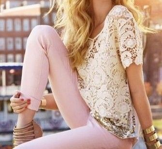 Pink skinny: Outfits, Lace Tops, Pastel Pants, Style, Pink Pants, Pastel Pink, Pale Pink, Lace Shirts, Pink Jeans