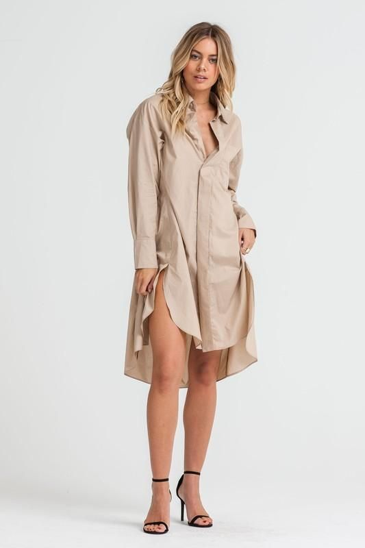 Collared Over Sized Shirt Dress