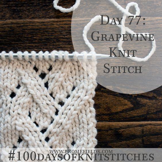 Como tricotar o ponto de malha Grapevine + PDF + VIDEO
