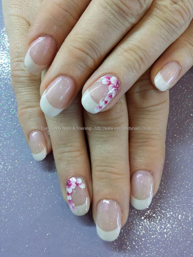 White acrylic french tips with one stroke flower nail art
