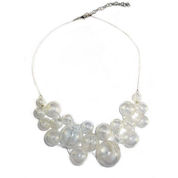 Billions of Bubbles Necklace - Unique Glass Bubble Abstract Statement... ($68) ❤ liked on Polyvore featuring jewelry, necklaces, accessories, clear glass necklace, clear statement necklace, glass bubble necklace, long necklace and long bubble necklace
