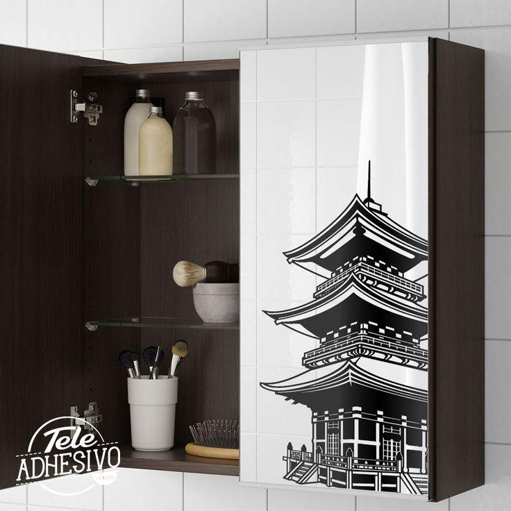Vinilo en espejo de baño de mueble Ikea #wc #decoracion #vinilo #espejo #baño #TeleAdhesivo