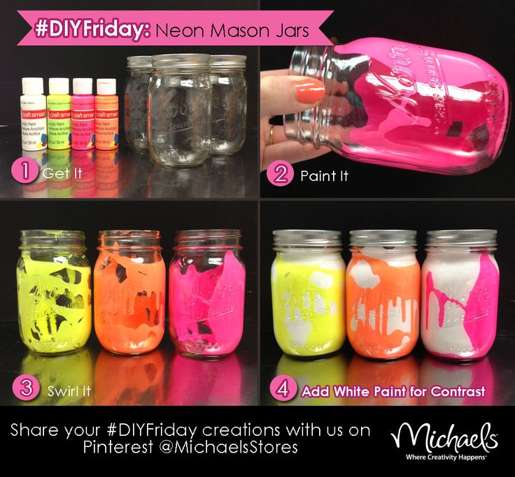 DIYFriday Neon Mason Jars  Cute craft for kids bday party