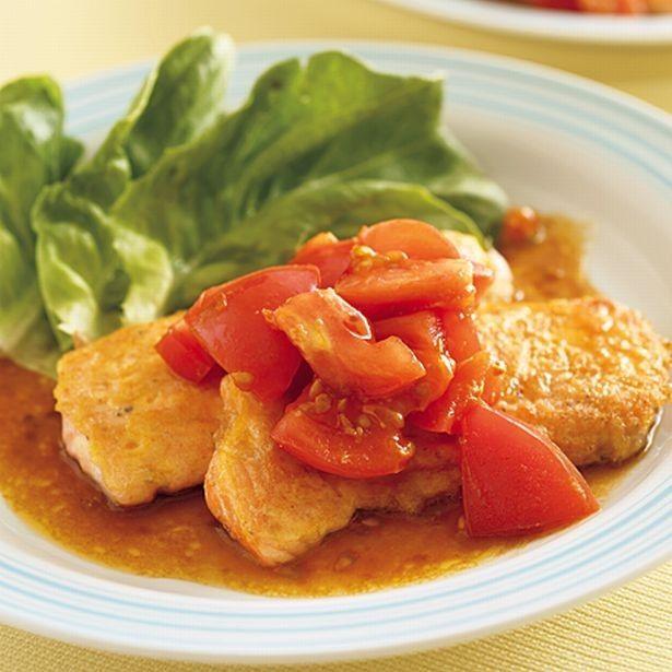鮭の新しい食べ方が楽しめる夕飯レシピ「鮭のピカタ トマトみそだれ」 - レタスクラブニュース