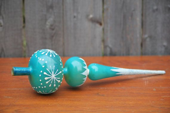 Vintage Christmas Tree Topper Aqua Glitter Made in by DelveChicago, $20.00