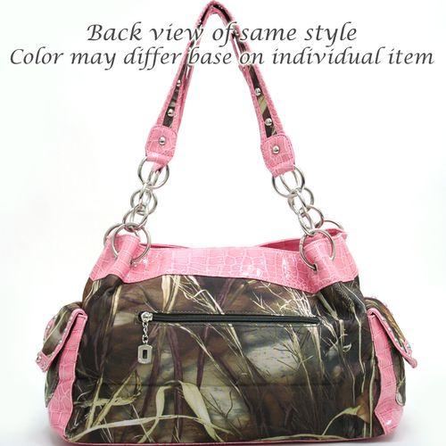 Real Tree (R) camouflage Fleur de Lis accent shoulder bag handbag - Coffee Q311-EM-RT1-52830A MAX4/CF