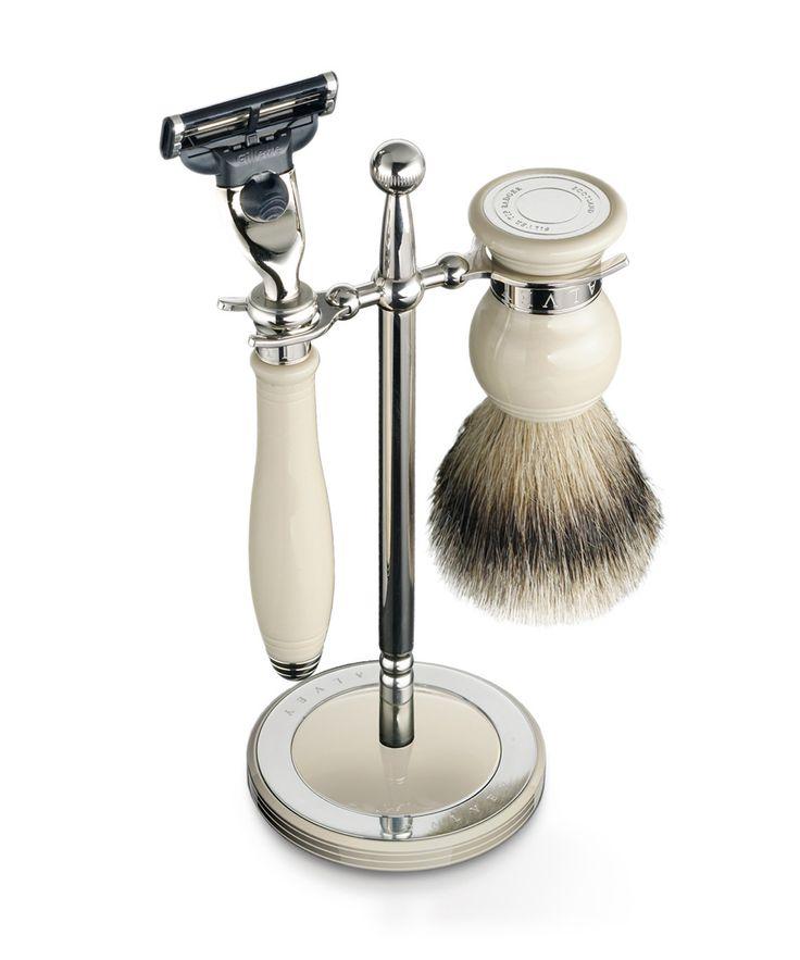 Dalvey Shaving Ivory Gillette® Mach3™ Razor Head & Super Badger Brush Set Stand