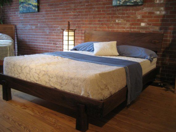 Walnut enso bed queen size cool bed frames red brick - Cool queen bed frames ...