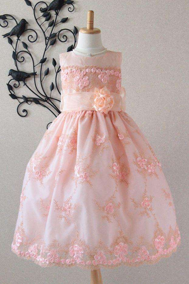 子供ドレス ピアノ発表会ドレス 1-321(120cm)ピーチ