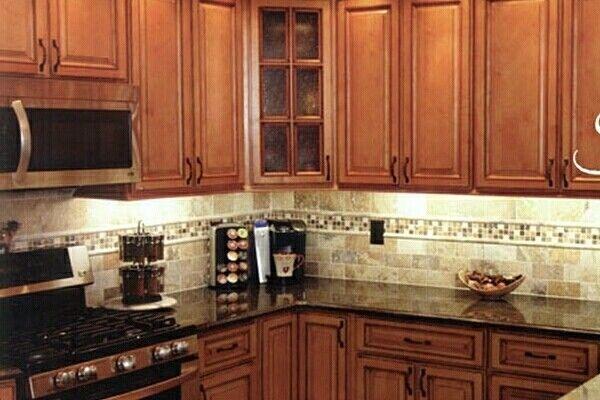 Kitchen Backsplash Cherry Cabinets Black Counter Countertop Ideas ...