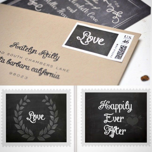 Deck out your wedding invites with these printable postage stamps.