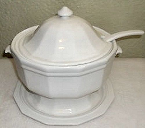 vintage pfaltzgraff heritage white soup tureen with ladle u0026