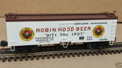 MTH-O-Gauge-3-Rail-20-94300-Robin-Hood-Beer-5310-36-039-Woodsided-Reefer-Car