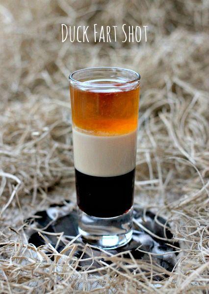 Duck Fart Shot: Kahlua, Bailey's Irish Cream, Scotch Whiskey.