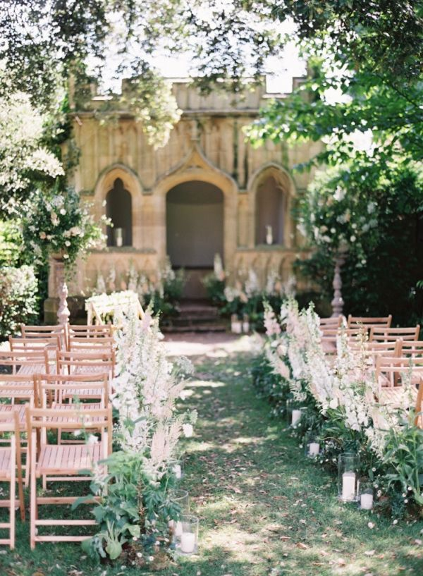 Garden Wedding Ceremony with Blooming Wildflower Aisle Decor | Catherine Mead…