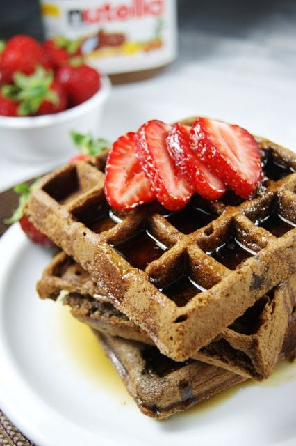 Nutella Waffles ... for breakfast, brunch, or dessert! thekitchenismyplayground.blogspot.com #Nutella #waffles