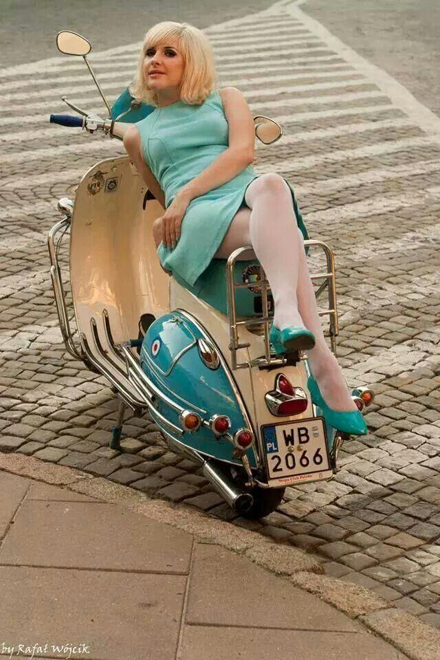girl on Vespa scooter