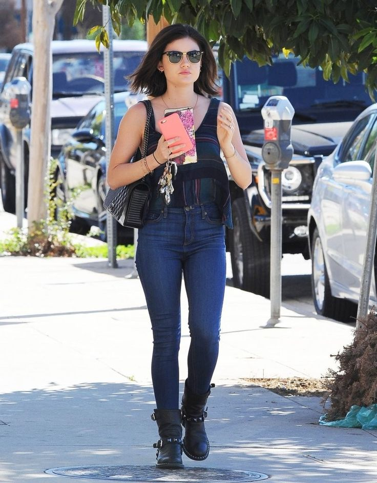 Actress Lucy Hale stops by Coffee Bean in Studio City, California to grab an iced coffee to go on February 12, 2015. Lucy is well known for her role on the ABC Family series 'Pretty Little Liars,' however, she also sings and released a country album, 'Road Between,' back in June.