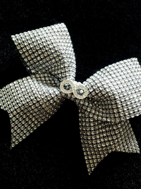 Silver Infinity Rhinestone Bling Cheer Bow for by Bowfriendz, $15.99