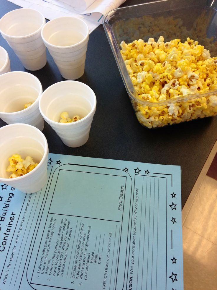 Popcorn for a STEM Challenge! The activity uses a picture book for inspiration and a design challenge!