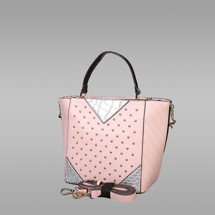 Soft Pink Colour PU Leather Handbag