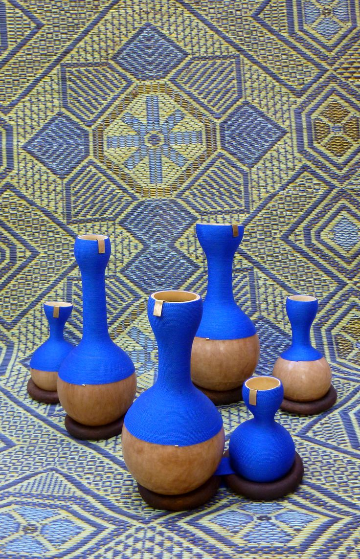 'Agasho', collection of handmade everyday life objects, co-created in Ouagadougou with Tuareg craftsmen & women, refugees from Mali  Materials: Calabash/ Goat leather/ Nylon threads/ Palissandre/ Bronze more here: https://www.facebook.com/designforpeaceproject/?fref=ts  # vases, bowls, hooks, containers