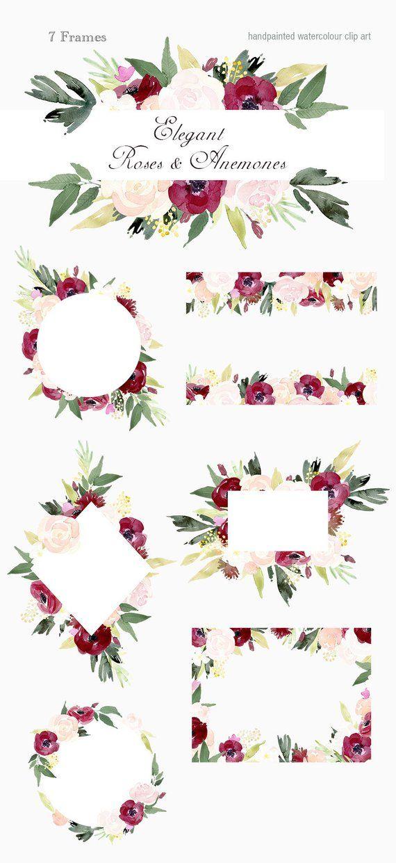 Elegant Roses and Anemones Frames - floral clip art ...