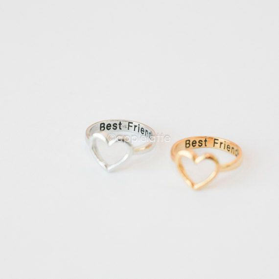 "open heart ring ""Best Friends""  gold/silver/sterling silver 925, sterling best friend ring, BFF ring, love ring, heart ring, $16.00  me and leah got these <3 bff! :)"