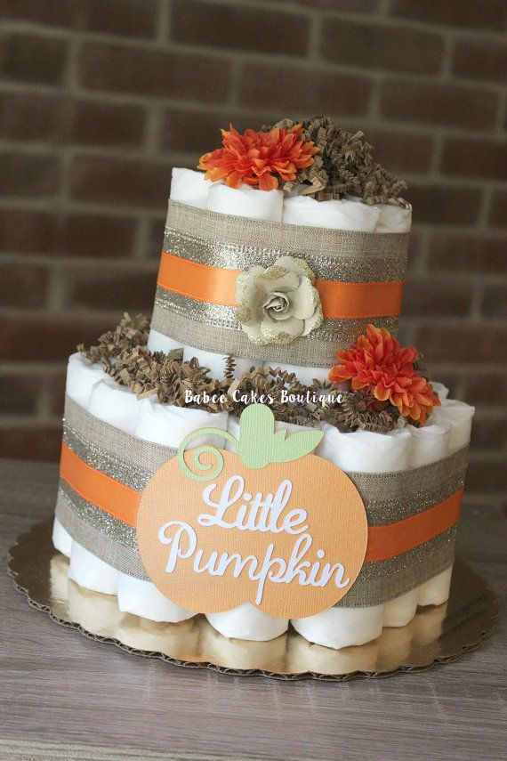 2 Tier Little Pumpkin Diaper Cake Fall Baby by BabeeCakesBoutique