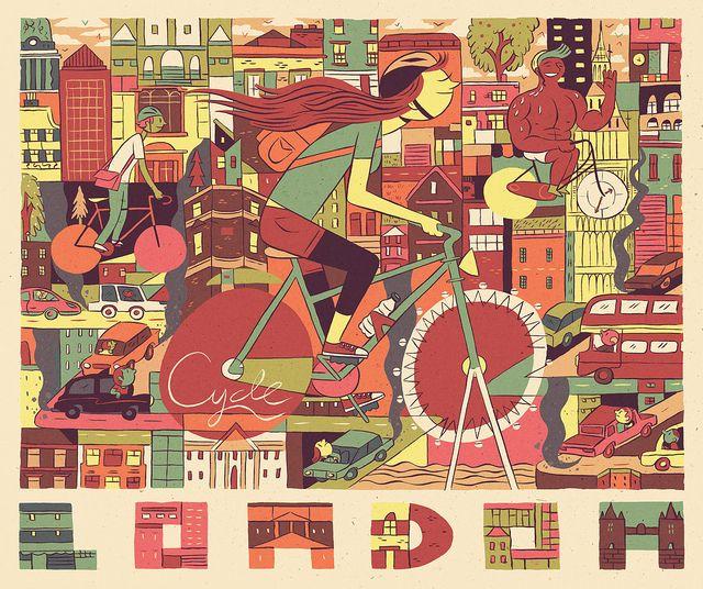 Luke Pearson illustration - Cycling London.