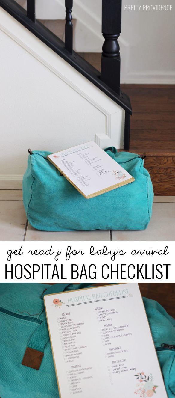 Sac liste de contrôle de l'hôpital gratuits à imprimer pour avoir un bébé!  Cela couvre tout!