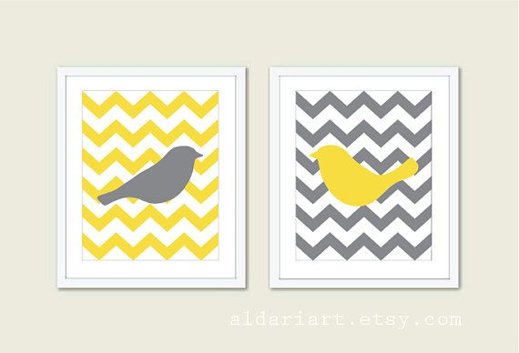 Birds Chevron Wall Art   Art Prints Set of 2   Couple by AldariArt, $24.00 , #birds, #love, #art, #print, #wedding, #yellow, #grey, #chevron, #bedroom, #aldariart