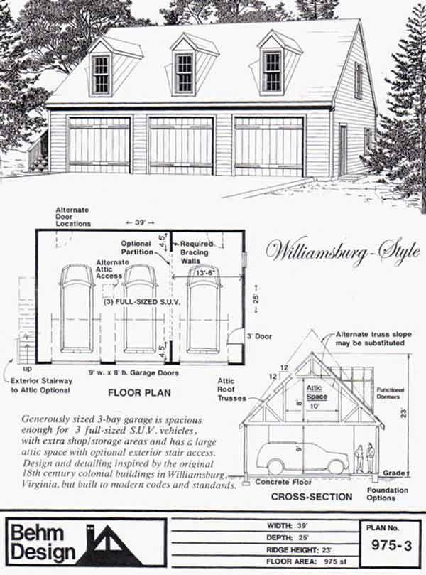 3 car garage cars and garage plans with loft on pinterest for 5 car garage plans