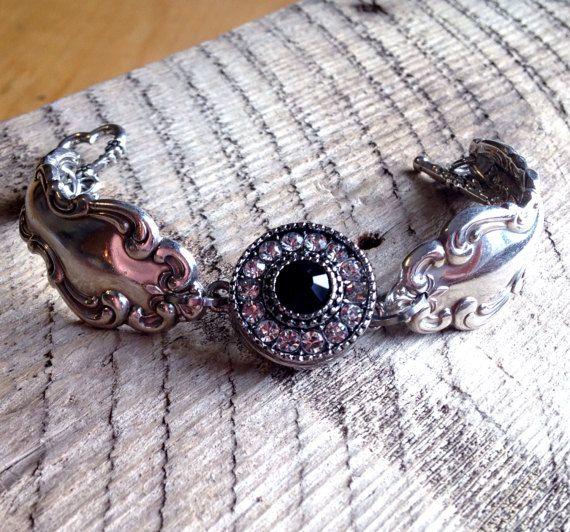 """Lepel armband, zilverwerk sieraden, bedelarmband, magnetisch uitlijnen knop ~ """"Moderne barok"""" 1969 ~ Upcycled handgemaakte milieuvriendelijk gerecycleerd"""