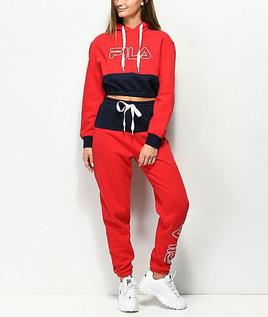 d6d107d6 FILA Dora Red & Blue Cropped Hoodie in 2019 | Need | Cropped hoodie ...