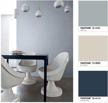 Couleur peinture salle manger gris bleu marine blanc for Salon bleu marine