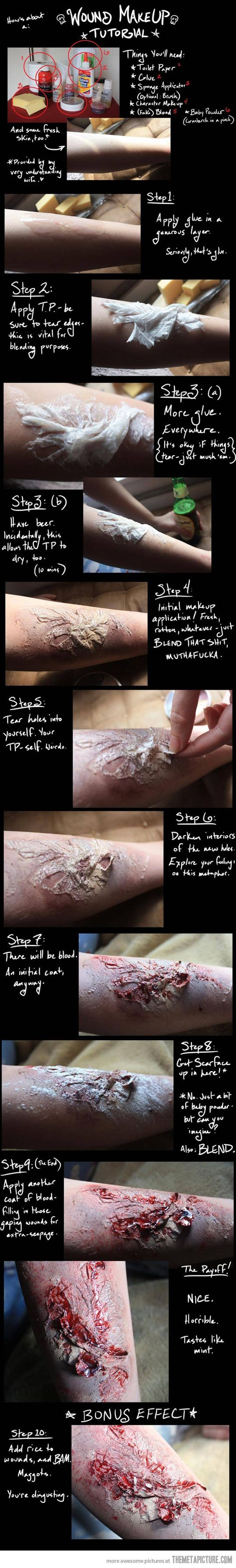 Wound Makeup… (from regular household stuff) great tutorial. (funny, too.)