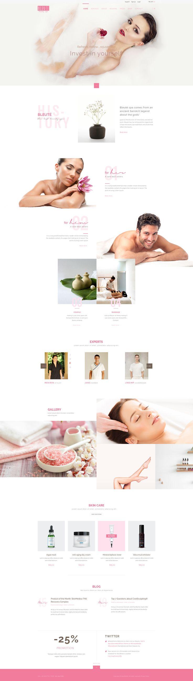 Bleute - Beauty | Spa | Hair | Wellness/Salon PSD - PSD Templates | ThemeForest